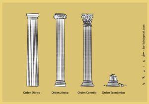 'Las columnas griegas', una viñeta de Bernardo Erlich de febrero de 2012.